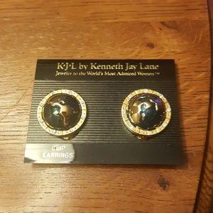 Kenneth Jay Lane World Peace clip earrings